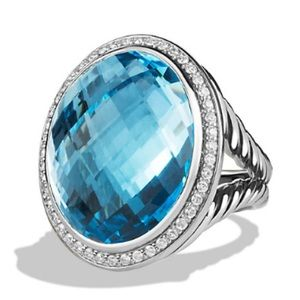 David Yurman Blue Topaz and Diamond Ring - 7 1/2